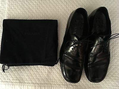 Men's Prada Italy Black Leather Runway Oxford Dress Shoes Size 7 No Reserve