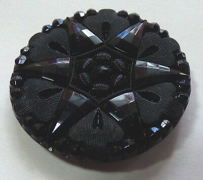 Antique  Victorian Black Glass 6 Point Star Button Matte & Faceted Large 1 3/16""