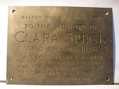 Antique CLARA SPECK died 1923 MALTON WESLEYAN DAY SCHOOL Bronze Plaque
