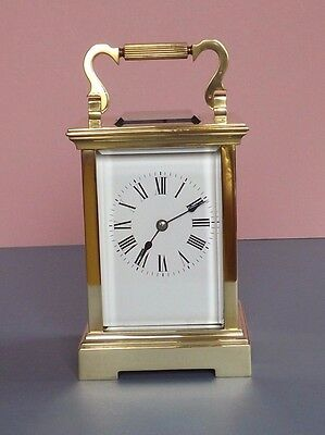 Beautiful Antique French Brass 8 Day Repeater Carriage Clock (L2-1)