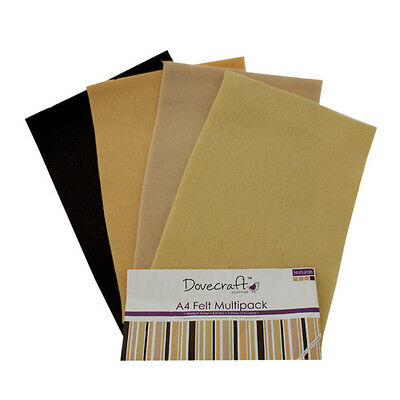 Dovecraft Essentials A4 Felt 8 Sheet Multipack - Naturals