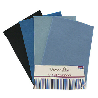 "Dovecraft Essentials A4 Felt 8 Sheet Multipack - Blues  8.5 "" x 12 """