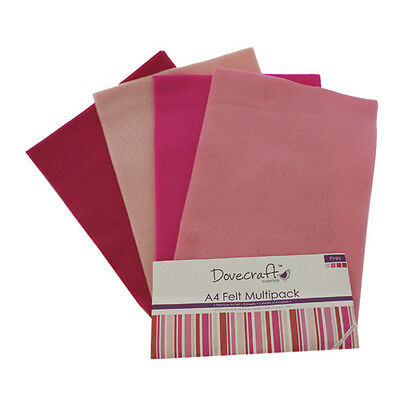 Dovecraft Essentials A4 Felt 8 Sheet Multipack - Pinks
