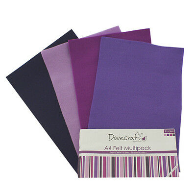 Dovecraft Essentials A4 Felt 8 Sheet Multipack - Purples