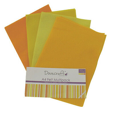 Dovecraft Essentials A4 Felt 8 Sheet Multipack - Yellows & Oranges