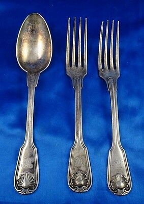 Antique Vintage Christofle Silver Plate Spoon Fork Lot of 3