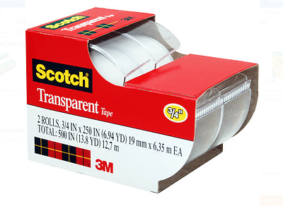 Scotch Tape Transparent Tape 2 Rolls Clear Tape Wrapping Tape Adhesive New