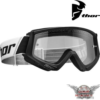 Motocross Brille Crossbrille Goggle Thor Combat Schwarz Weiss Enduro Offroad Atv