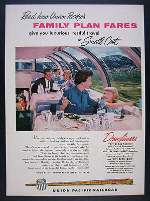 1956 Union Pacific Railroad Domeliner dining car color photo vintage print Ad