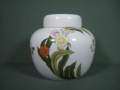 Vintage Large Round Floral Cookie Jar With Cover  Made In Italy For Tiffany
