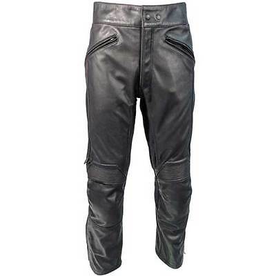 Richa Cafe Plain Leather Crusier Motorcycle Motobike Trousers Black All Sizes