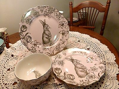 222 Fifth Garden Playtime Pink Gold Bunny Hill China Plates Bowl Dishes Setting