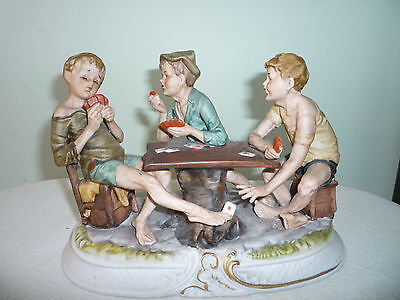 Capodimonte Porcelain Figurine Boys Cheating At Cards