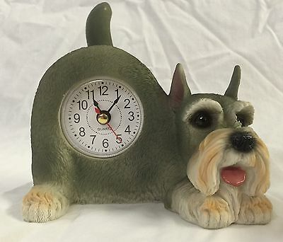 BACK TO SCHOOL Critter Clock Schnauzer Tabletop Wagging Tail Puppy Dog