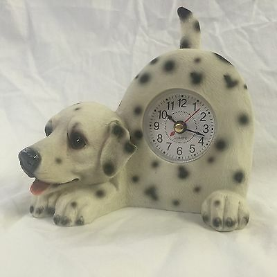 BACK TO SCHOOL Critter Clock Dalmatian Tabletop Wagging Tail Puppy Dog