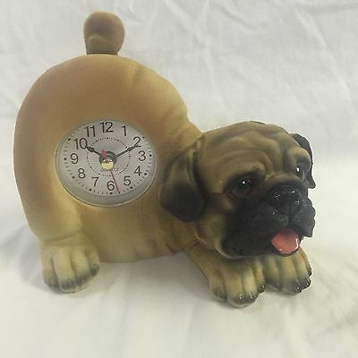 BACK TO SCHOOL Critter Clock Pug Tabletop Wagging Tail Puppy Dog