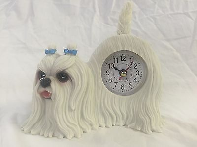 BACK TO SCHOOL Critter Clock Maltese Tabletop Wagging Tail Puppy Dog