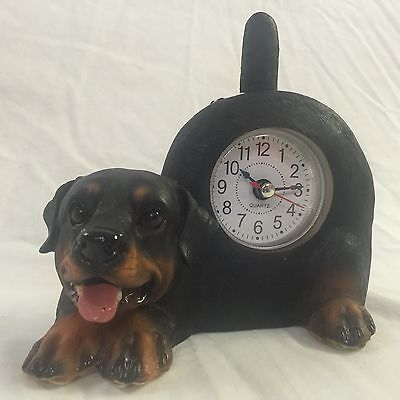 BACK TO SCHOOL Critter Clock Rottweiler Tabletop Wagging Tail Puppy Dog