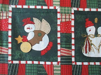 CHRISTMAS Vintage SNOWMEN In BLOCKS On GREEN 1990's COTTON Fabric-over 1 yd