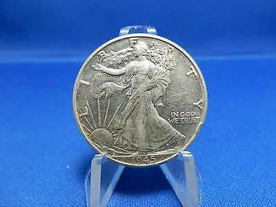 1945 Walking Liberty Silver Half Dollar Coin - About Uncirculated, Cleaned