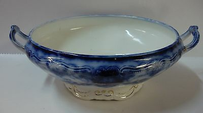 John Maddock DAINTY Handled Round Vegetable Serving Bowl FLOW BLUE More Avail
