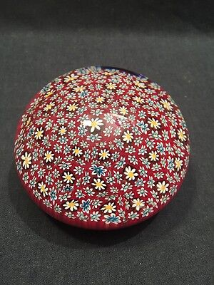 Large Vintage Daisy Millefiori Paperweight Signed And Dated Murano? (ref P343)
