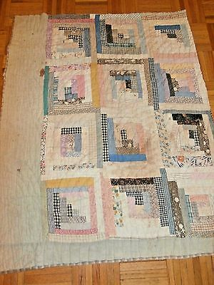 """Antique vintage Log Cabin cutter quilt piece 33"""" x 39""""  great early fabrics"""