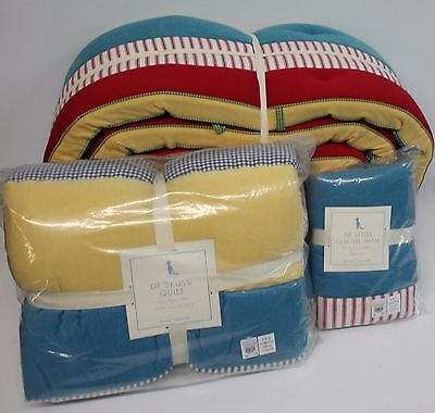 Pottery Barn Kids Dr Seuss Baby / Toddler Quilt, Small Pillow & Bumper  - NWT