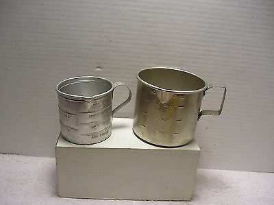(2)Vintage Aluminum Measure Cups  1-Cup and 2-Cup