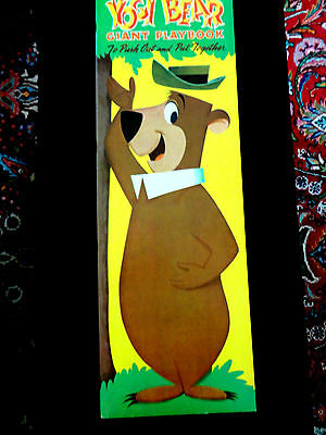 "1960 Whitman Yogi Bear And Huckleberry Hound ""giant Playbook"" Cutouts 34"" Tall!"