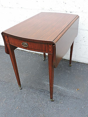 Large Drop-Leaf Mahogany Cherry Inlay  Side Table End Table 7655