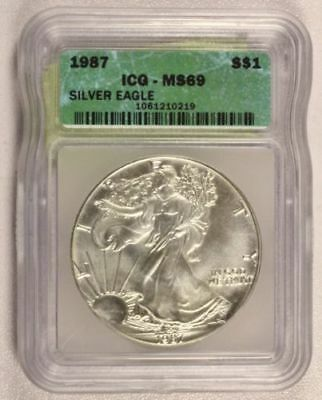 1987 American Silver Eagle ASE $1 ICG certified MS-69 BEAUTIFUL Premium Quality