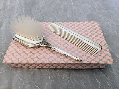 Web Sterling Silver Handled Child's Hair Brush and Comb In Box No Monogram