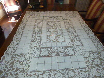 """Vintage Beige Filet Lace Cluny Bobbin over Lace Tablecloth Linen Look 73 x 55"""""""