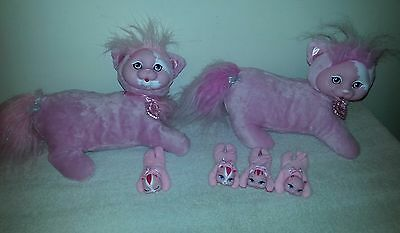 Lot stuffed plush Kitty Surprise mama cat & kittens sunshine pink