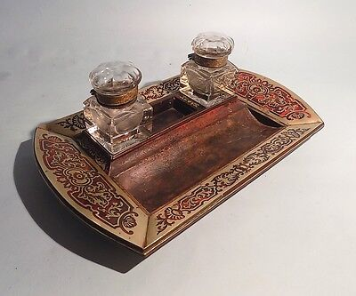 Antique Boulle Faux Tortoiseshell and Brass Inlaid Desk Stand. Ink Stand.