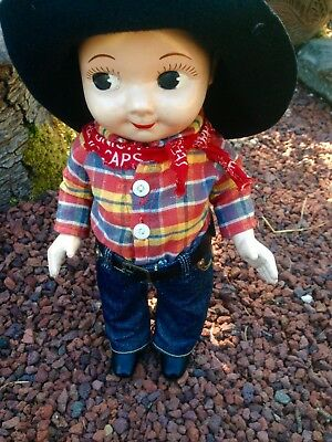 "Vtg 1950's Buddy Lee Jeans Hard Plastic Advertising Cowboy Doll 13"" tall w/ Hat"