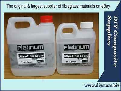3 Ltr. Ultra Clear Casting EPOXY RESIN 2:1 kit UV (Platinum)