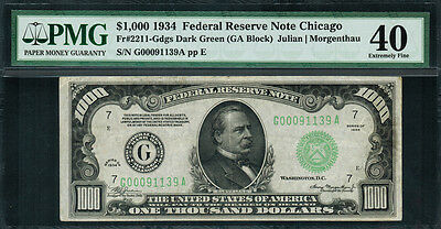 1934 $1000 Federal Reserve Note Chicago (FRN) FR-2211-G - PMG 40
