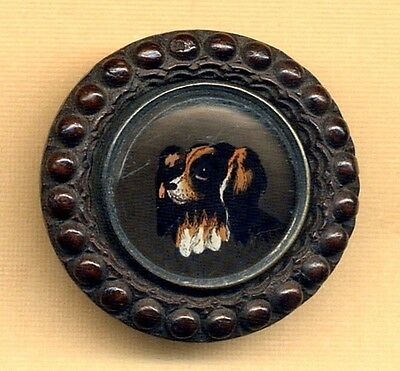 Antique Button…Fabulous Large Hand Painted Spaniel Dog Under Glass in Wood