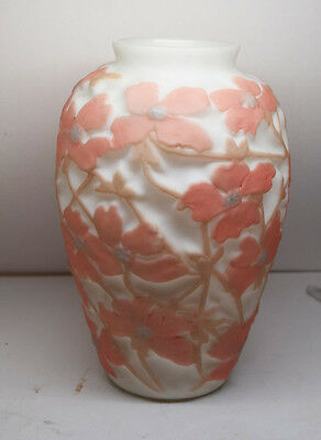Large  Consolidated Glass Dogwood Art Glass Vase PINK Flowers
