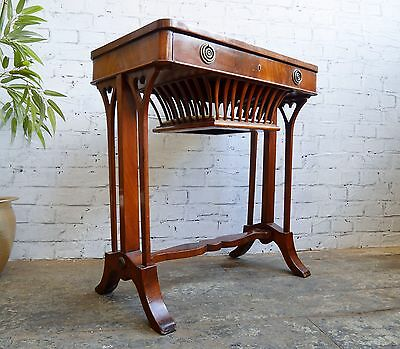 Antique Victorian Flame Mahogany Love Heart Sewing Games Side Hall Drawer Table