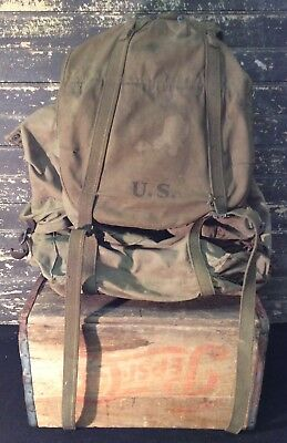 Vtg 1943 WWII Hinson Canvas External Frame Rucksack Military Pack Backpack EX+