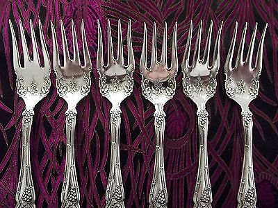 "1847 Rogers Bros VINTAGE Grape ~ Set of 6 Salad Forks 5 7/8"" ~ 1904 ~ EX!"