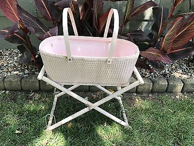 Vintage wicker REDMAN baby carriage bassinet roll wood wheels canopy Light Pink