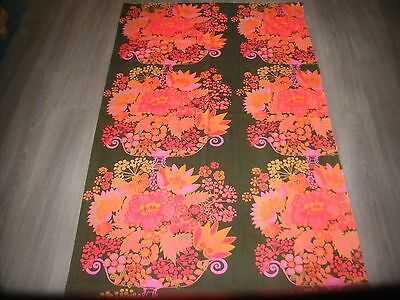 Vintage 60s 70s Marta Lena Boras red orange pink brown flower cotton fabric