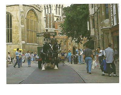 (Horse) Coloured Postcard 'Trinity Street Cambridge' with working horses and....