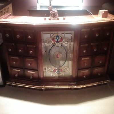 Vintage Decorative Bar / Server with Stained Glass, Glass Knobs, and Brass Rail