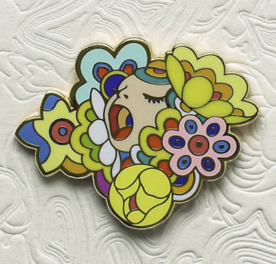 James Jean Figaro Bouquet Limited Edition Enamel Pin /500 Polished Brass soldout