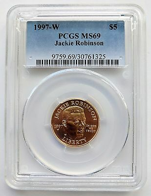 1997-W $5 Jackie Robinson Gold Commemorative PCGS MS69